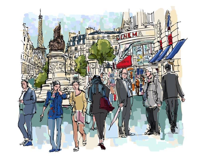 巴黎街道的人们  库存例证