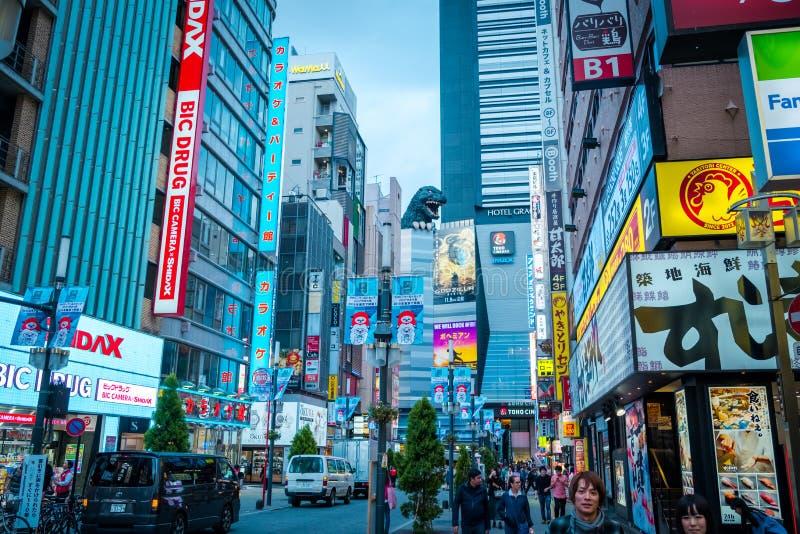 街道的哥斯拉在Kabukicho区,新宿,日本 库存图片