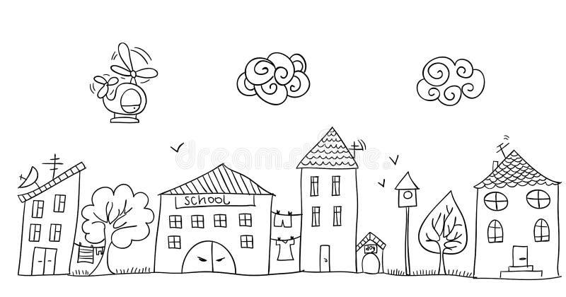 街道的滑稽的儿童` s图画 皇族释放例证