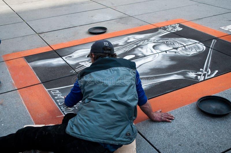 巴黎街道的短暂艺术家画家  图库摄影
