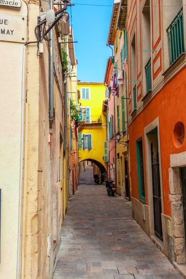 街道看法  滨海自由城,尼斯,法国海滨 库存照片