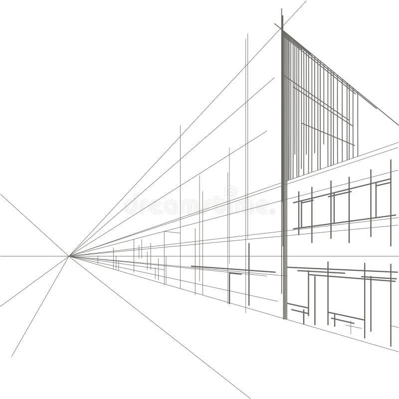 街道线性建筑剪影透视  向量例证