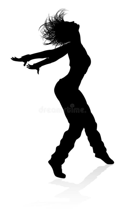 街道舞蹈舞蹈家剪影 库存例证