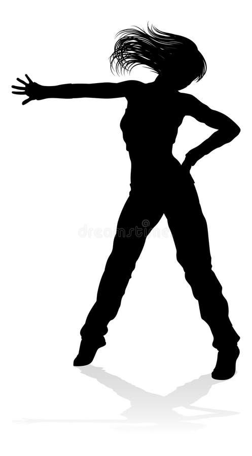 街道舞蹈舞蹈家剪影 皇族释放例证