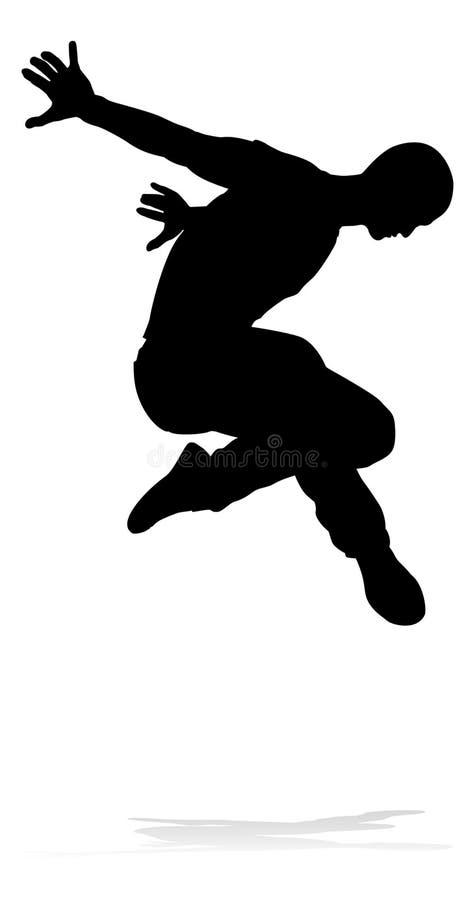 街道舞蹈舞蹈家剪影 向量例证