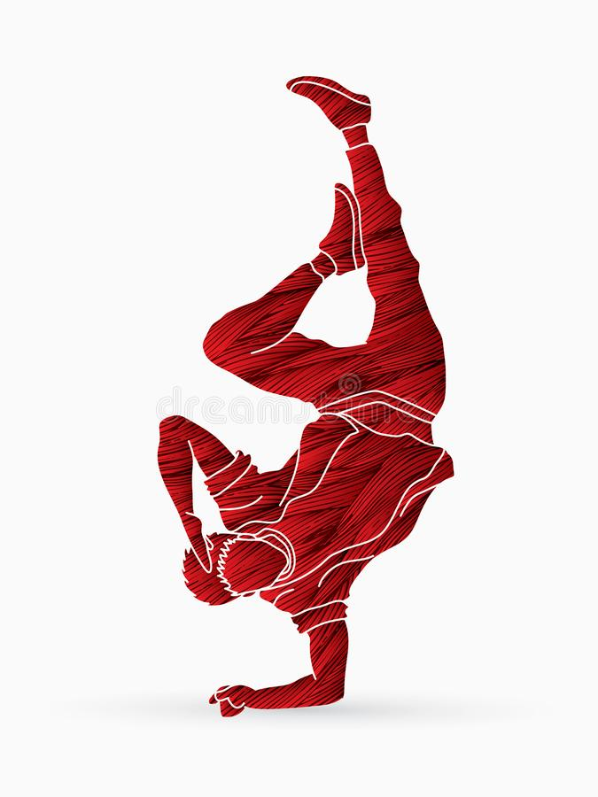 街道舞蹈, B男孩跳舞, Hip Hop跳舞行动图表传染媒介 向量例证