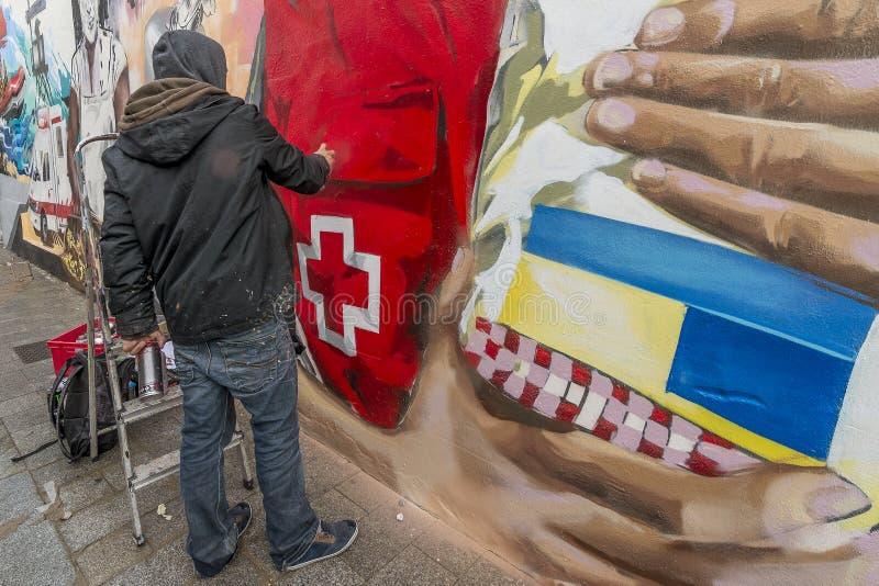 街道艺术在巴伦西亚,西班牙 库存图片