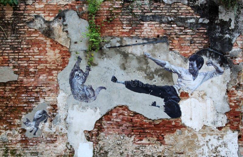 街道艺术在槟榔岛,李小龙 免版税图库摄影