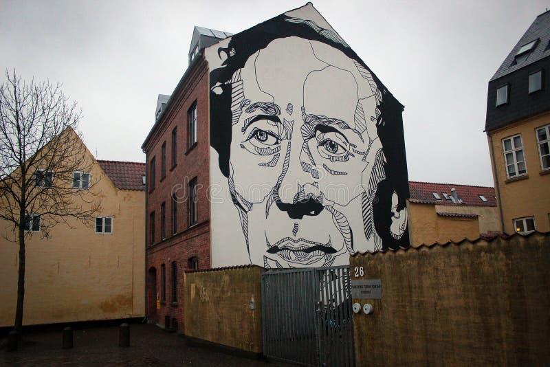 街道艺术在欧登塞,丹麦 免版税库存图片