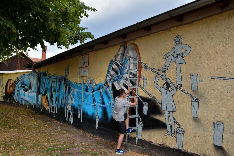街道艺术墙壁上的集体在萨格勒布,克罗地亚 库存图片