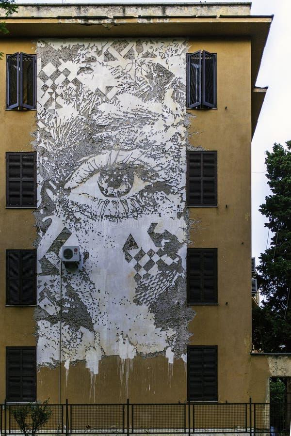 街道艺术壁画在999contemporary画廊的罗马 免版税库存图片