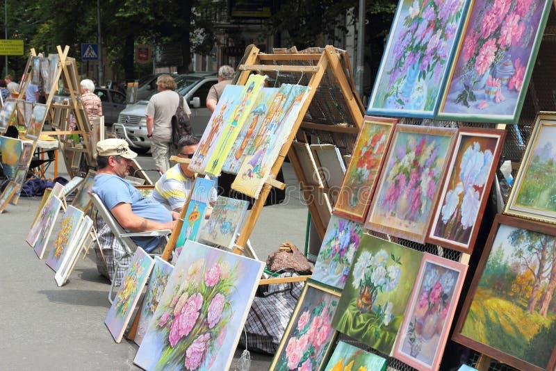 街道艺术家和艺术家 库存照片
