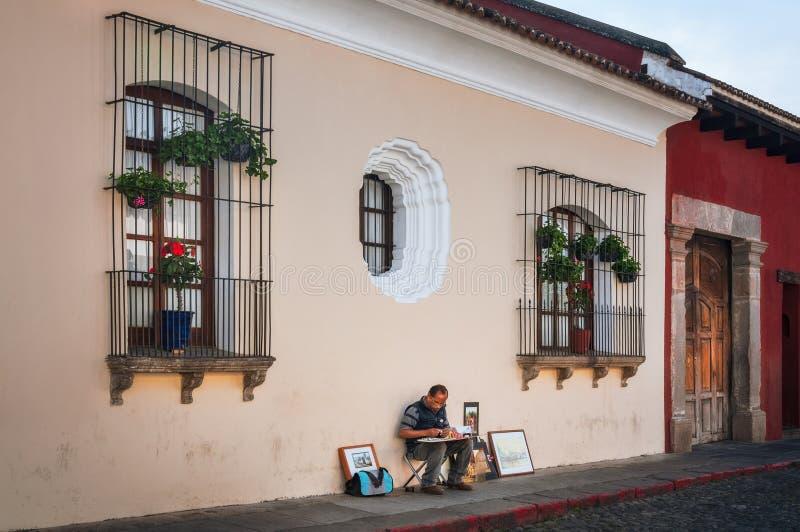 街道艺术家在安提瓜岛,危地马拉 免版税库存图片