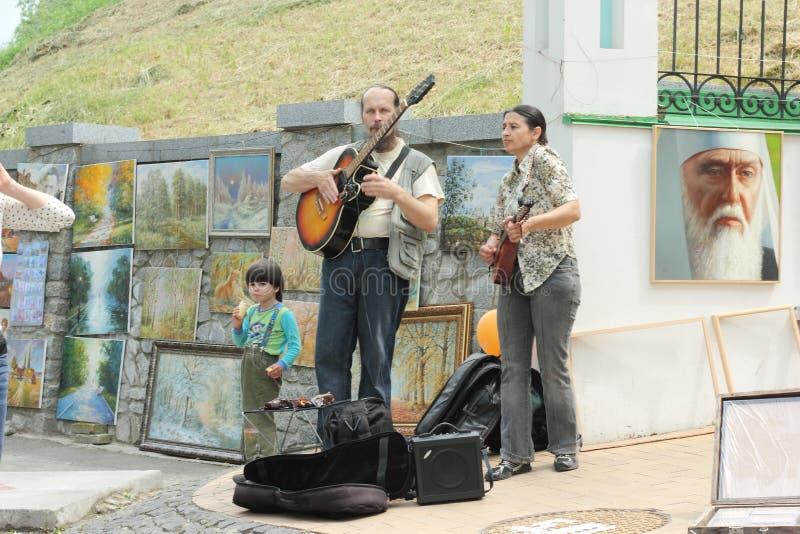 街道艺术家的卖艺人 免版税库存图片