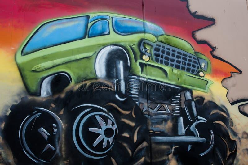 街道艺术巨型卡车 库存照片