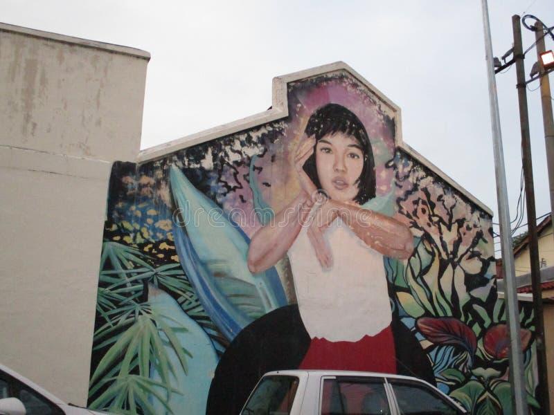街道艺术绘画在槟榔岛 库存图片