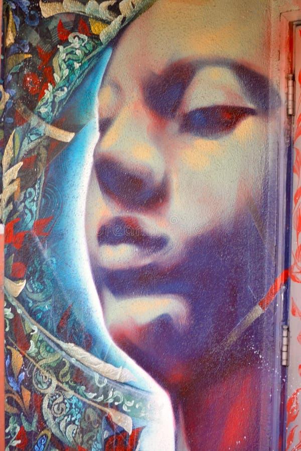 街道艺术面孔壁画 库存图片