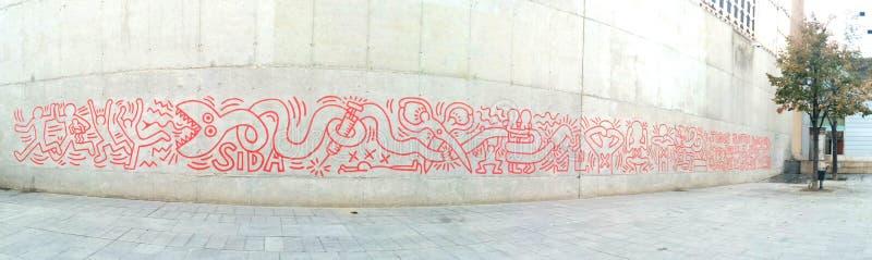 街道艺术-反对艾滋病的竞选 免版税库存照片