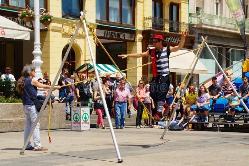 街道节日在萨格勒布 免版税库存照片