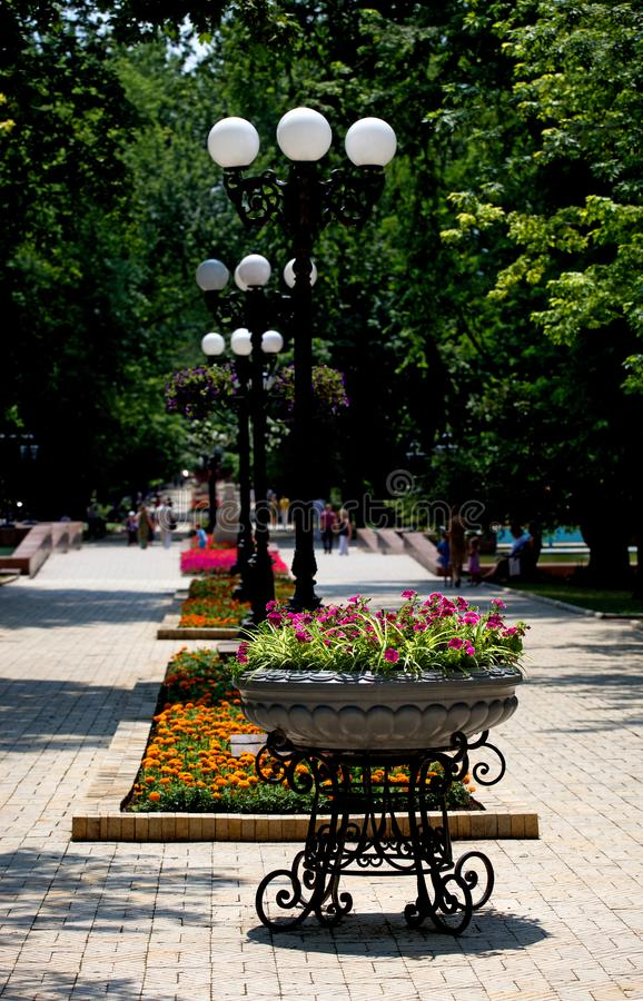 街道花圃,有伪造的铁立场的花盆 库存照片