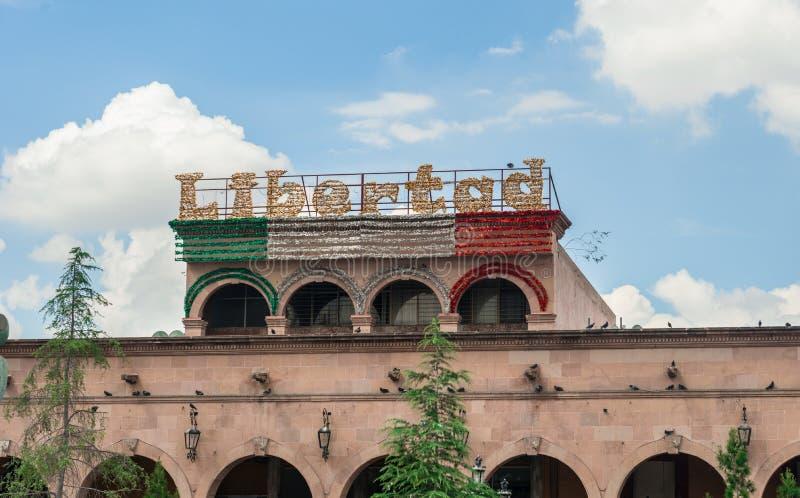 街道装饰在萨尔提略墨西哥 免版税库存图片