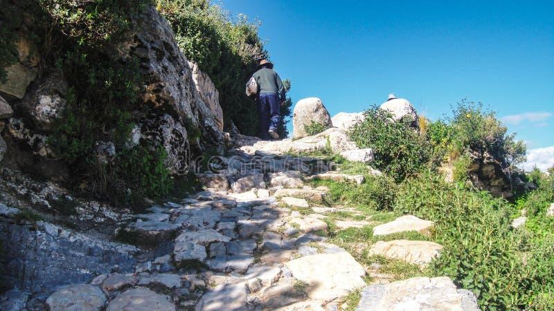 街道观点的科帕卡瓦纳在玻利维亚,南美洲 库存图片