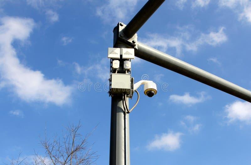 街道视图交通录影监视器 库存图片