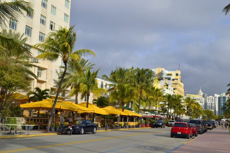 街道视图南海滩,迈阿密 库存照片
