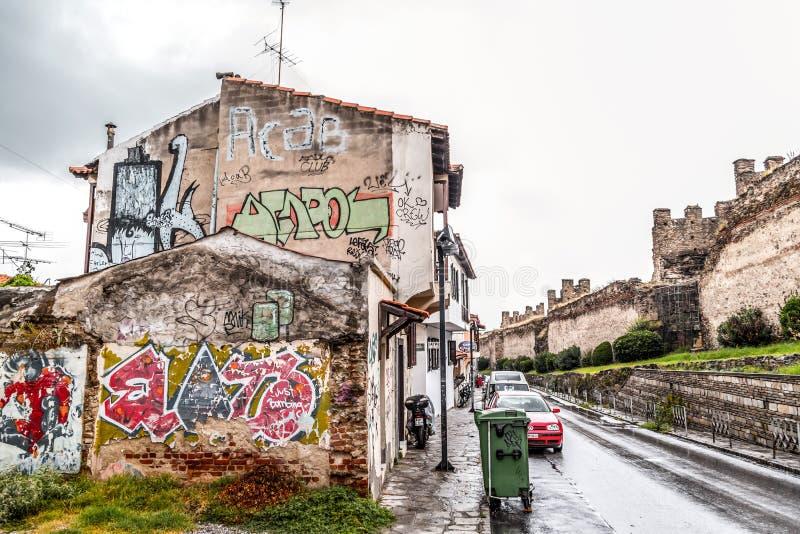 街道视图在塞萨罗尼基老  免版税图库摄影