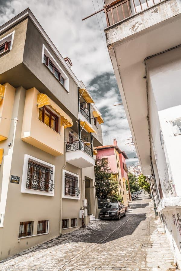 街道视图在塞萨罗尼基老  库存图片