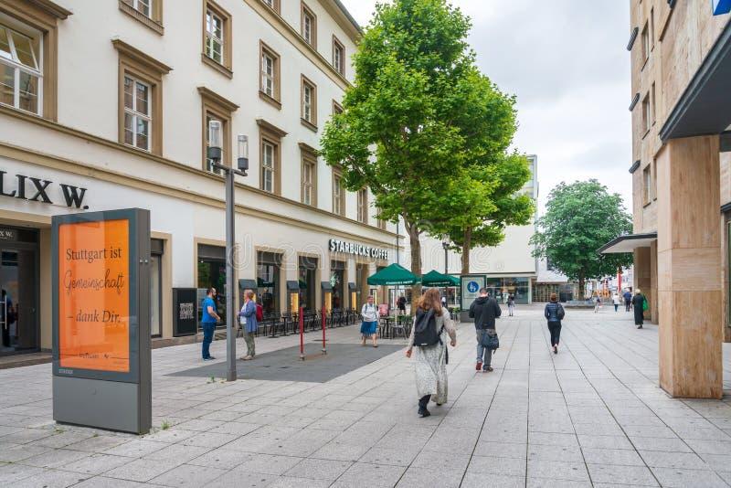 街道视图在斯图加特市,德国 免版税库存图片