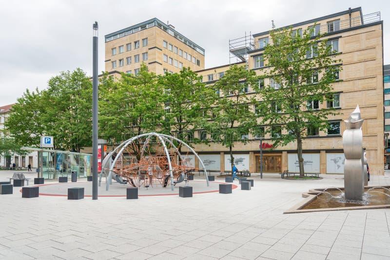街道视图在斯图加特市,德国 免版税库存照片