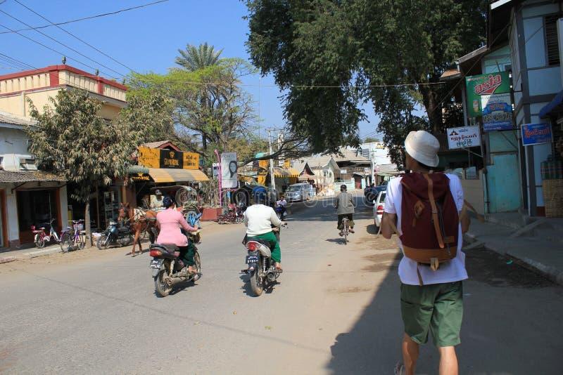 街道视图在Bagan缅甸 免版税图库摄影