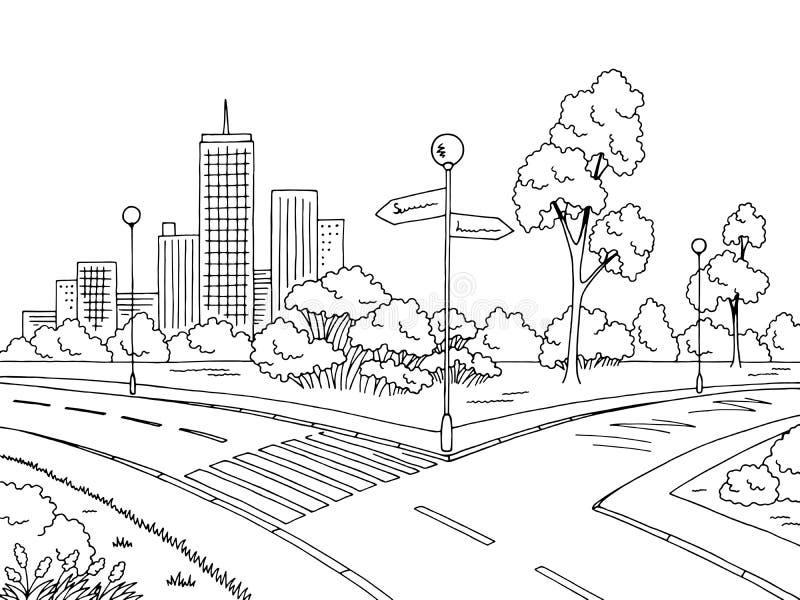 街道路图表黑白色城市风景剪影例证传染媒介图片
