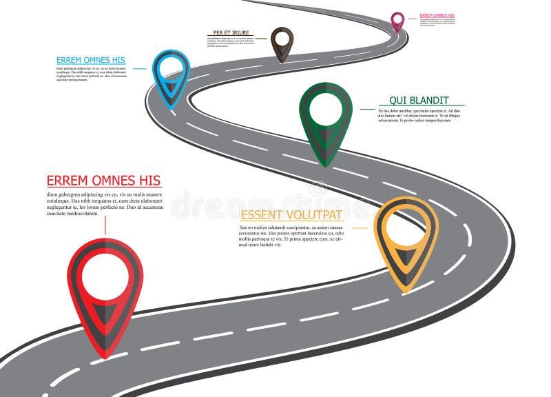 街道路线图,企业infographics 库存例证