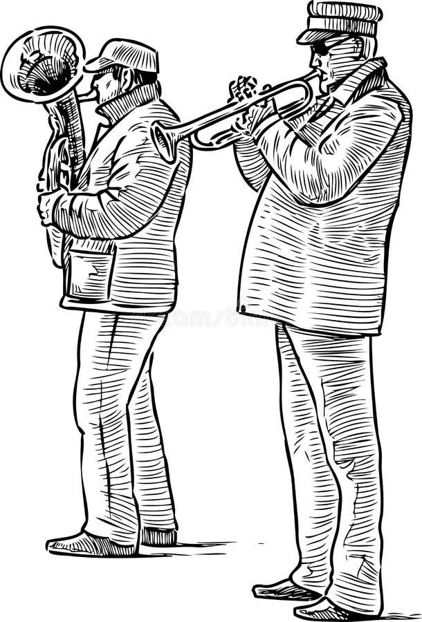 街道音乐家二重奏的剪影  库存例证