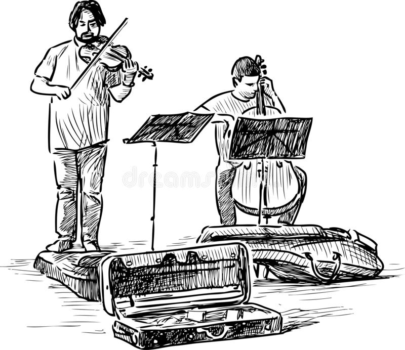 街道音乐家剪影弹小提琴和大提琴的 皇族释放例证