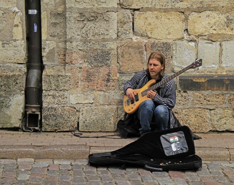 街道音乐家弹低音吉他室外在里加 免版税图库摄影