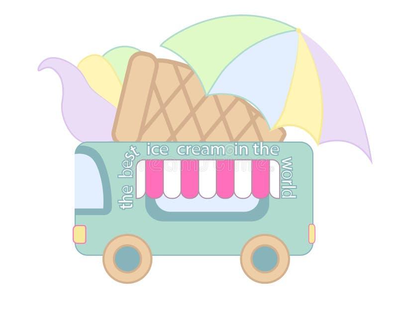 街道食物冰淇凌卡车例证,食物有蓬卡车 冰淇凌van delivery 平的象 向量例证