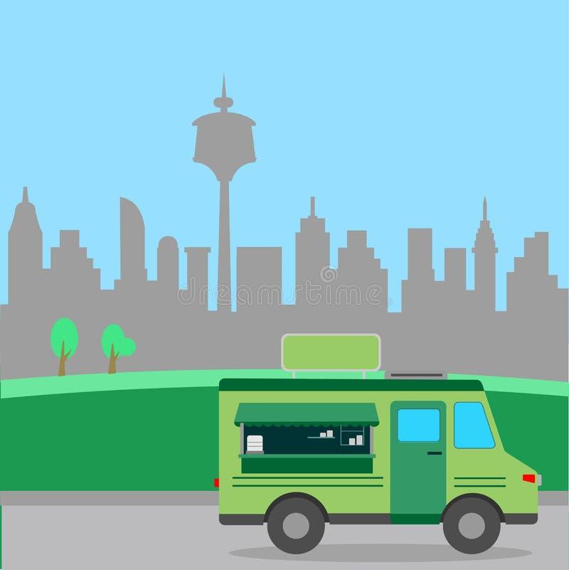 街道食物卡车例证 向量例证