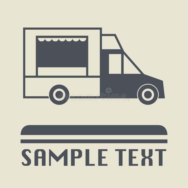 街道食物卡车象或标志 库存例证
