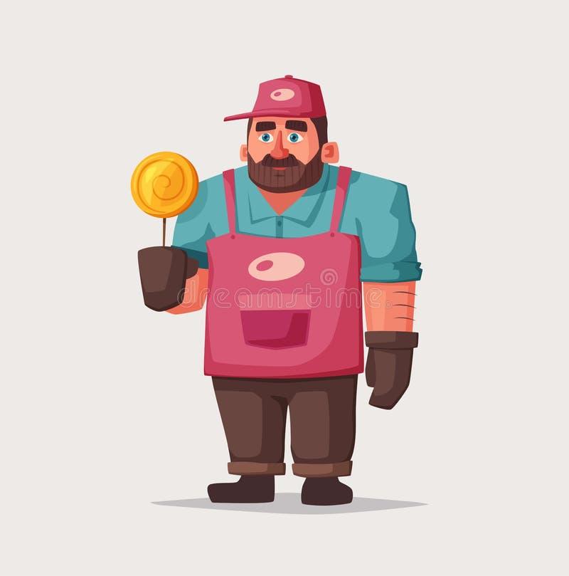 街道食物和饮料滑稽的叫卖小贩 外籍动画片猫逃脱例证屋顶向量 卖主或厨师字符 向量例证