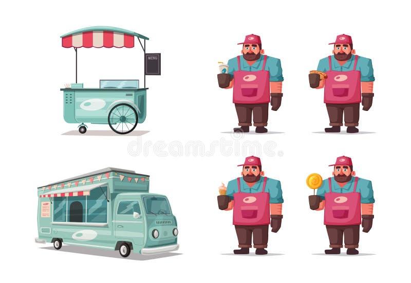 街道食物和饮料滑稽的叫卖小贩 外籍动画片猫逃脱例证屋顶向量 卖主或厨师字符 皇族释放例证