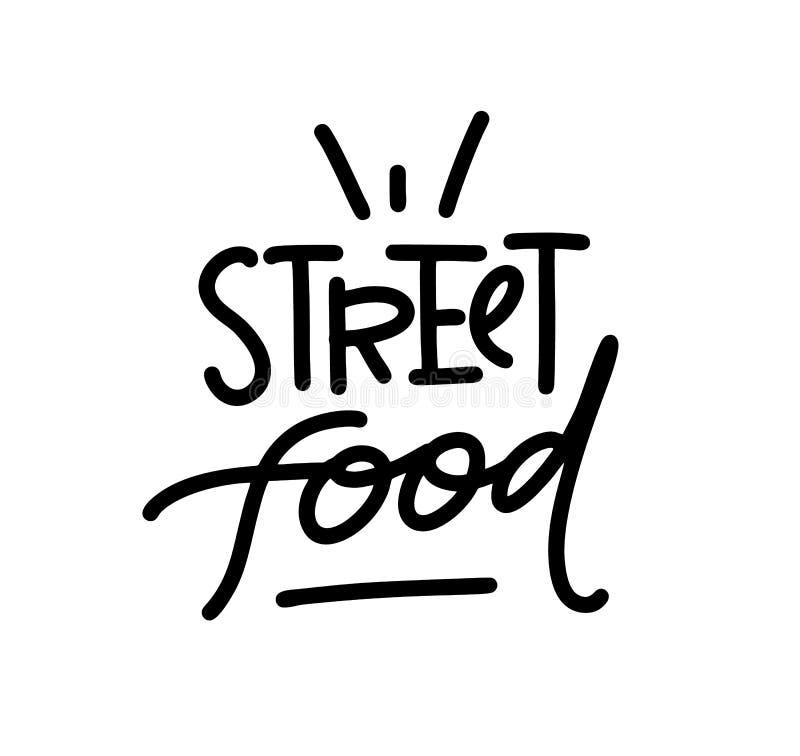 街道食物商标 手拉的传染媒介字法 对菜单,商店,bbq,卡车,餐馆,咖啡馆,酒吧 向量例证
