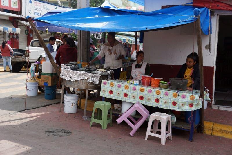 街道食物地方在墨西哥 免版税库存照片