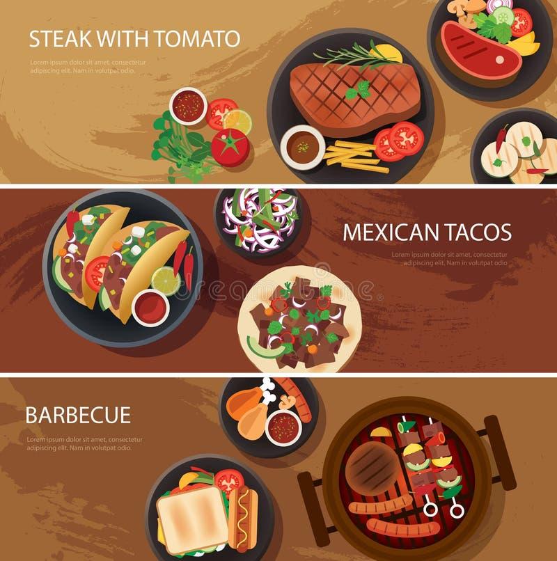 街道食物循环横幅,牛排,炸玉米饼,烤肉 皇族释放例证