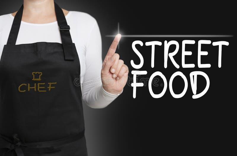 街道食物背景厨师被管理的触摸屏幕概念 库存图片
