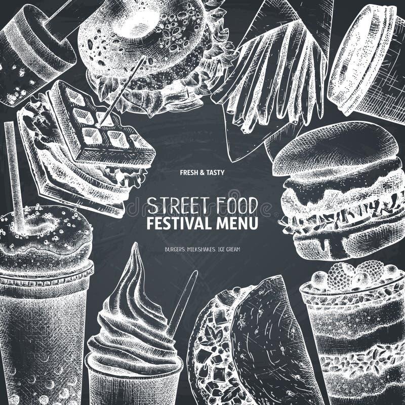 街道食物节日菜单 葡萄酒剪影汇集 面卷饼快餐kebab饼集合炸玉米饼 被刻记的样式设计 传染媒介在黑板的饮料图画 库存例证