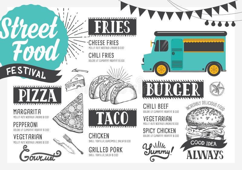 街道食物菜单,设计模板 向量例证