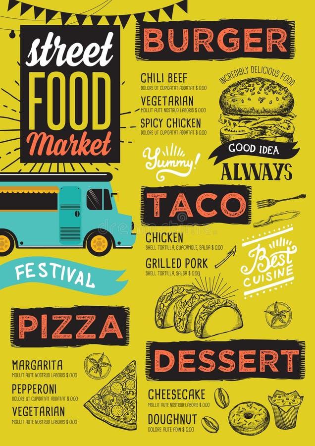 街道食物菜单,设计模板 库存例证